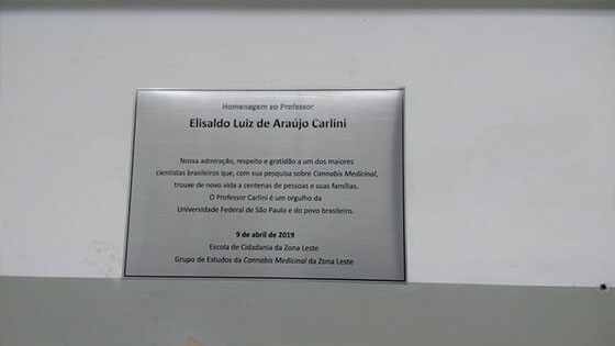 Elisaldo Carlini é homenageado pela Câmara Municipal de São Paulo